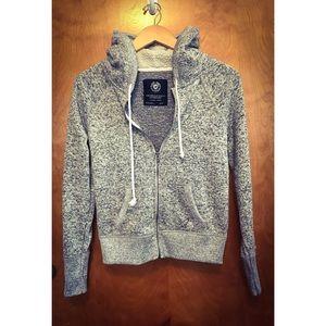 American Eagle Gray Hooded Zip Up Sweatshirt